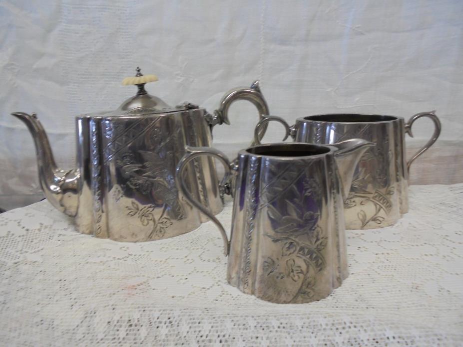 Vintage Metal Teapot Coffee Creamer Sugar Etched Bird Floral Unique