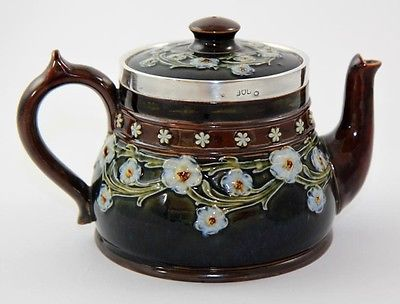 Doulton Lambeth flowered teapot, sterling rim, by Florrie Jones, ca 1900 [7607]