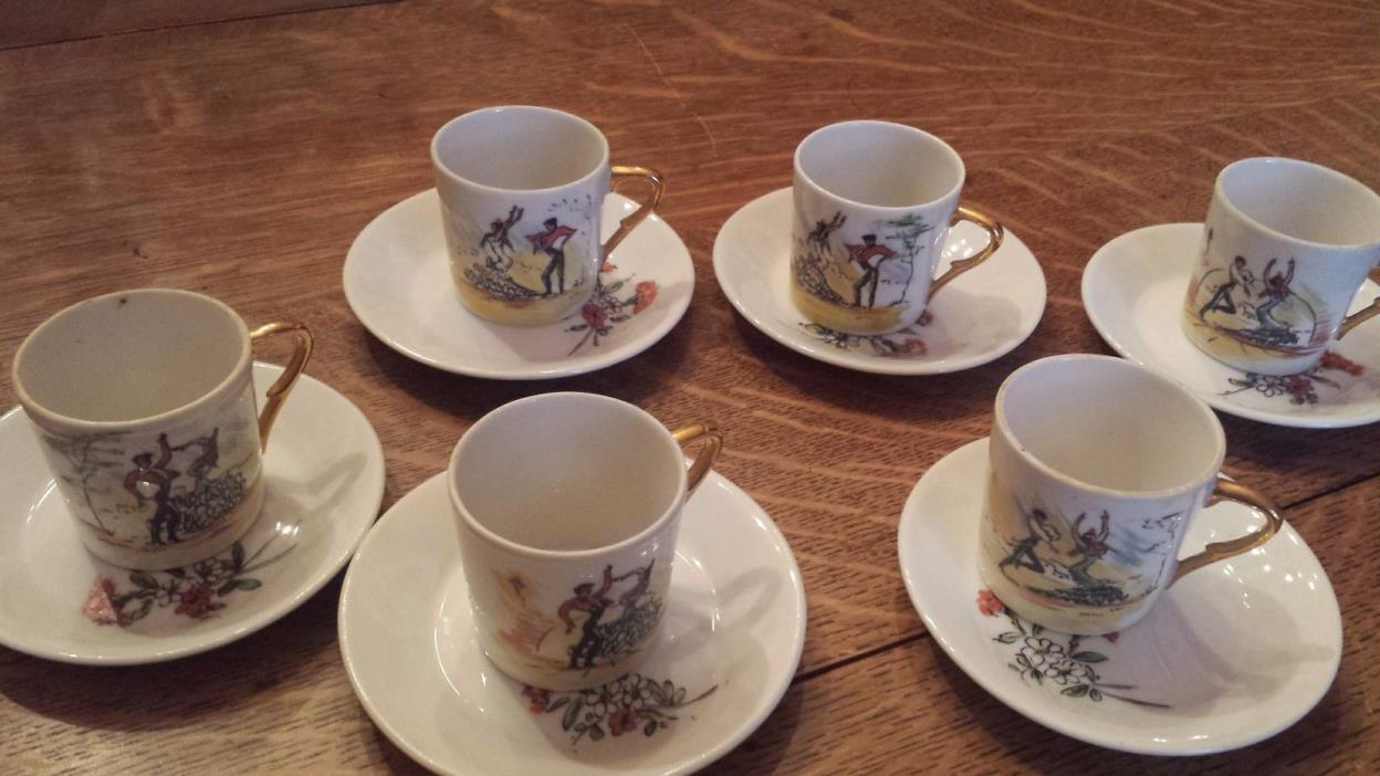 Demitasse set of 6 cups/saucers, Spanish Flamenco design