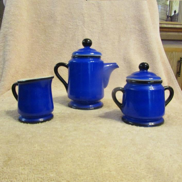 VINTAGE PORCELAIN COBALT BLUE TEA SET TEAPOT, CREAMER AND SUGAR BOWL