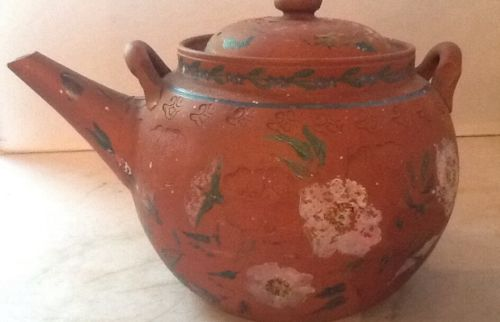 CHINESE YIXING ZISHA CLAY PAINTED & INCISED POTTERY TEAPOT