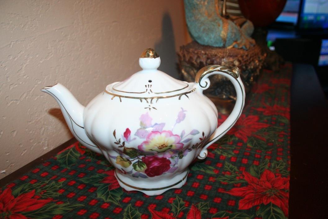 Beautiful Antique Ornate Floral Porcelain Teapot