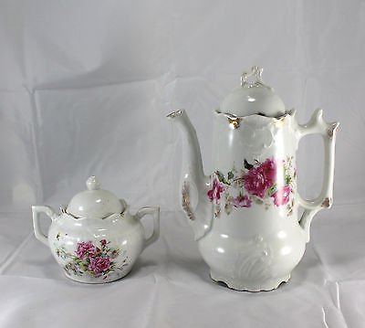 Vintage Handpainted Floral Rose Porcelain Gilt Teapot & Sugar Bowl
