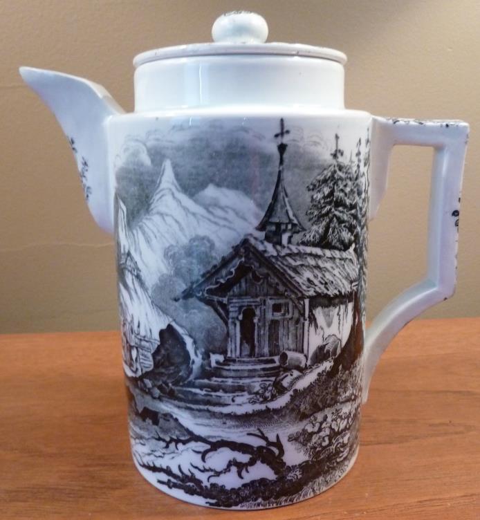 Schramberg Black Forest scene black transferware coffee, tea or chocolate pot