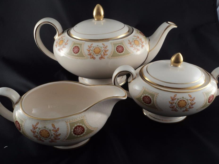 Vintage Sadler England Gold Trim Porcelain Teapot Creamer Sugar