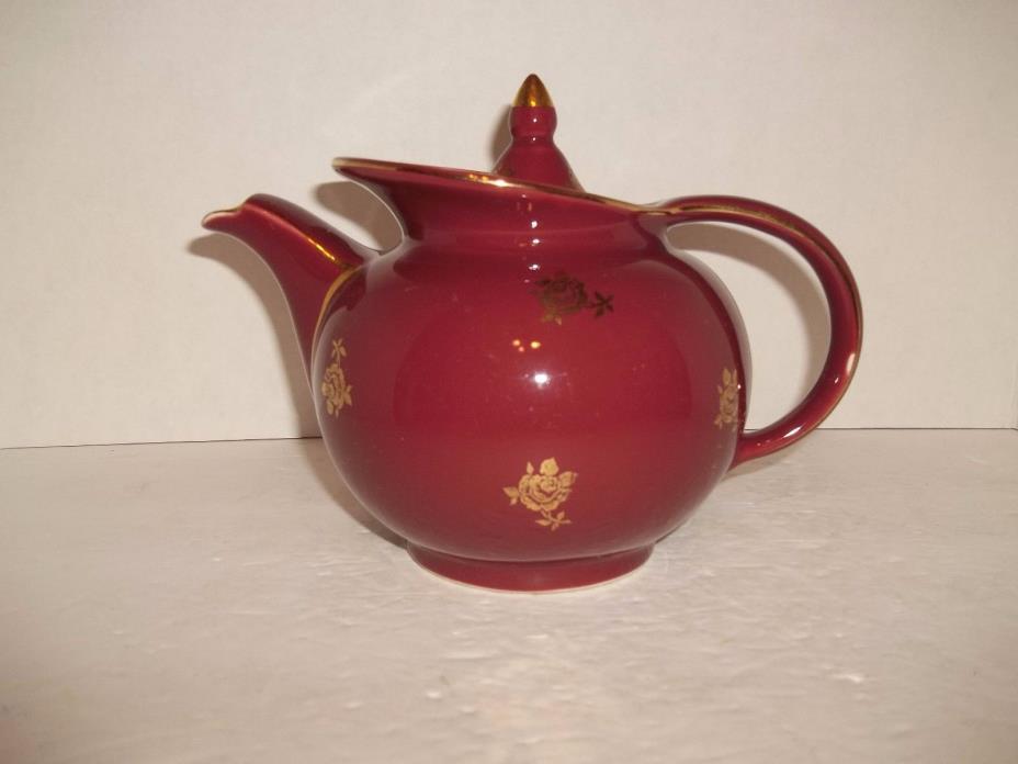 Vintage Hall Maroon Gold Roses Art Deco Windshield Tea Pot 1940s Excellent