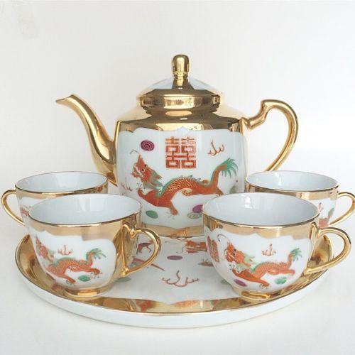 Vintage Chineses  Porcelain Teaset Dragon