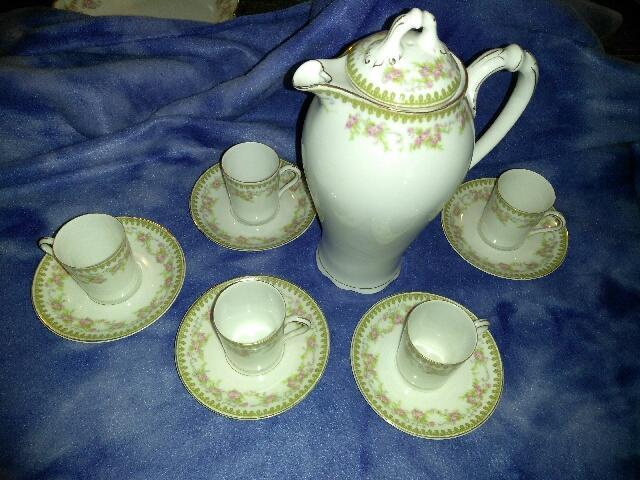 Antique Royal Schwarzburg Porcelain Coffee Pot 5 Cups & Saucers bawo dotter