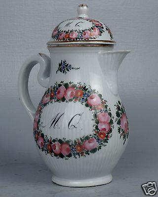 Fine Antique 18C Wallendorf German Porcelain Coffee Pot - Mocha Chocolate PC