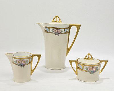 Antique Hutschenreuther Hand Painted Porcelain Chocolate Pot Set - Limoges - PC