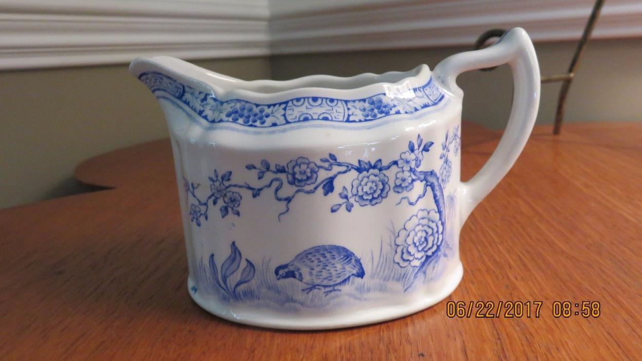 Furnivals Blue & White Transfer Quail Pattern Creamer Made in England