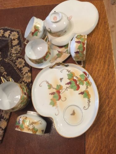 Hakusan China Japan 16 Pc Eggshell Snack Set Gold Grapes Butterfly