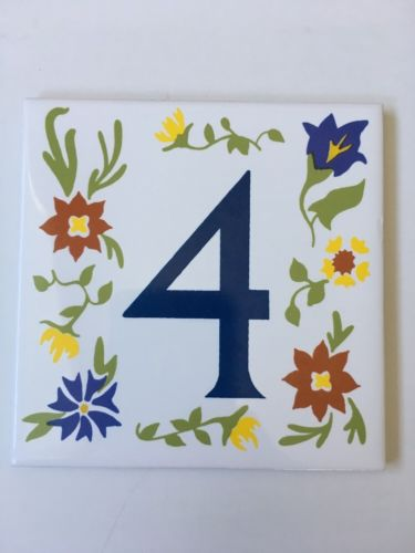 Mulia Ceramics Tile Mod Flower 4 Four Number Green Yellow Blue Porcelain House