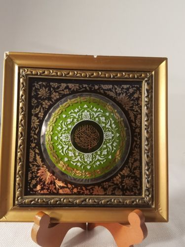 Antique wall tile,glass on terracotta. marked KS Turkey.