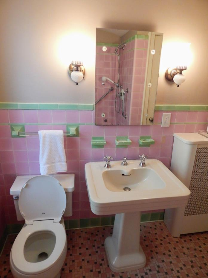 6 Vintage Pink Ceramic Porcelain Bathroom Kitchen Retro Wall Tiles RECLAIMED