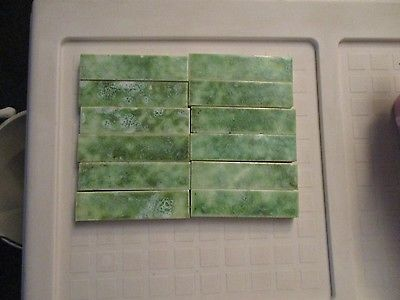 VINTAGE ANTIQUE DECORATIVE BORDER  FIREPLACE SURROUND TILE GREEN OLD BRIDGE