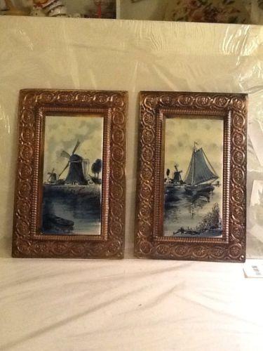 Pair Of 2 Dutch Delft Style Tiles Framed In Hand Tooled Copper Folk Art Frame Vi