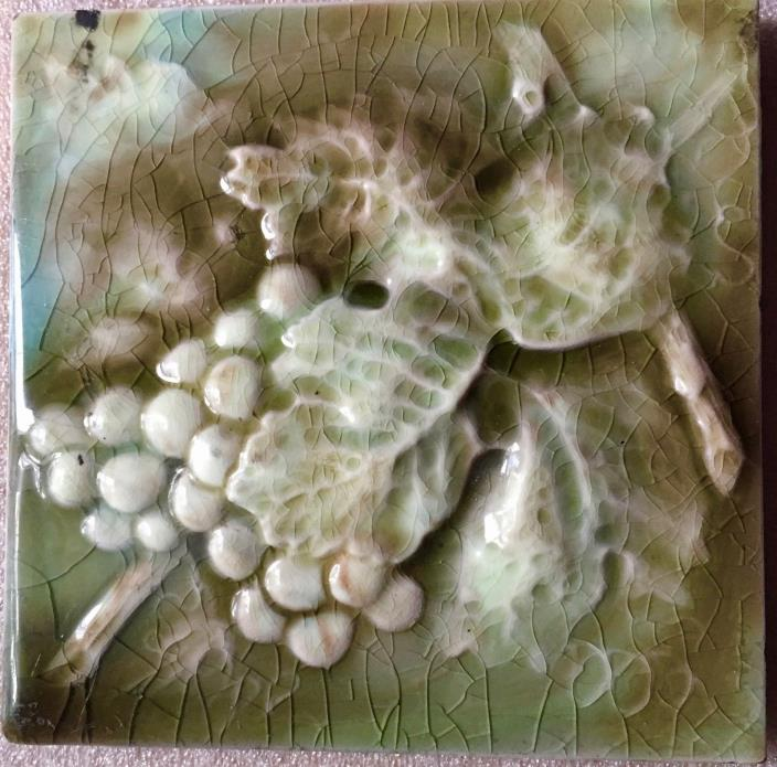 Antique American Encaustic Pottery Art Tile of Grapes Vines
