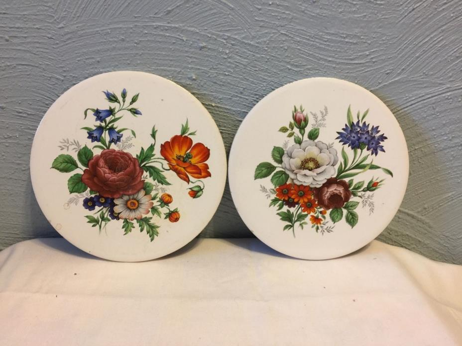 Pair VINTAGE H & R JOHNSON LTD CERAMIC TRIVET MADE IN ENGLAND #72 Holmes Gray