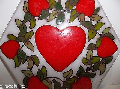 Vintage Art Tile Trivet ENAMELED HEART Red WHITE Green 9