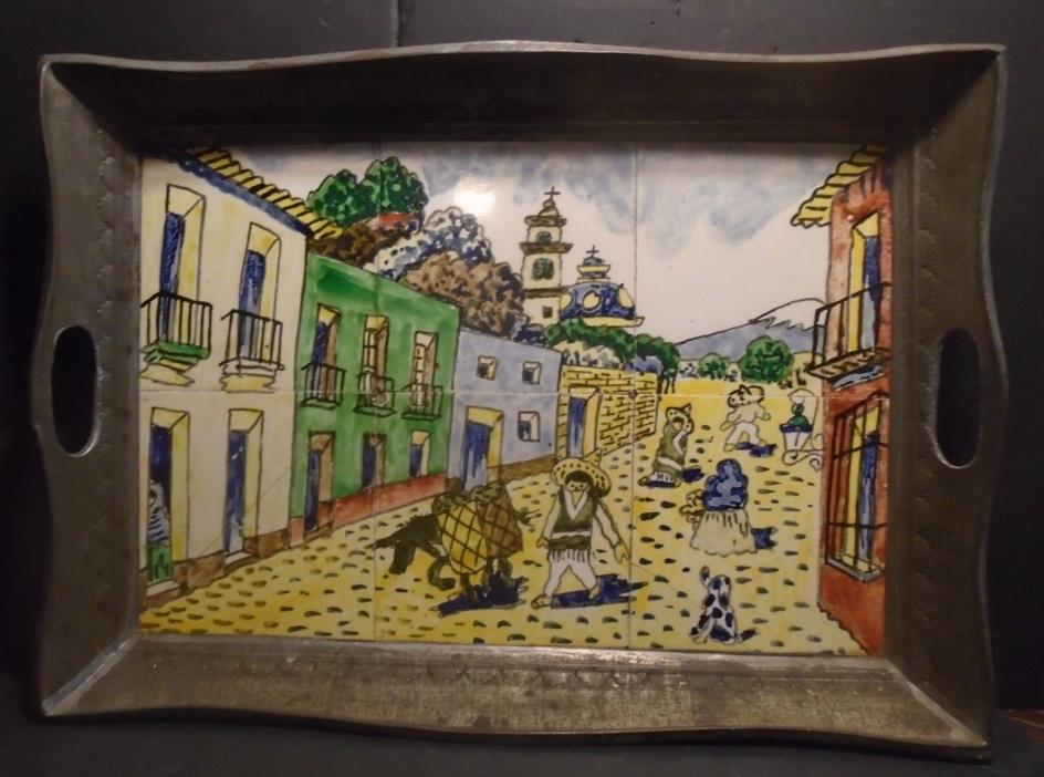 Old Hand Painted Ceramic Tile Mural Of A Mexican Street Scene Tin Tray 21
