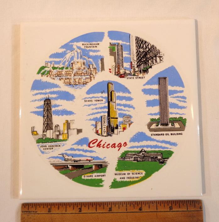 VTG Trivet Ceramic Tile Chicago Sears Tower Standard Oil O'HARE STATE STREET