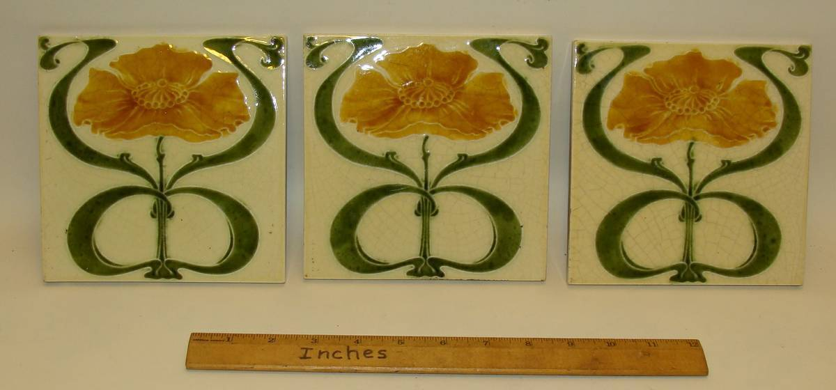 X5 Set-3 Old English/French Victorian/Art Nouveau 100+Year Old Tiles