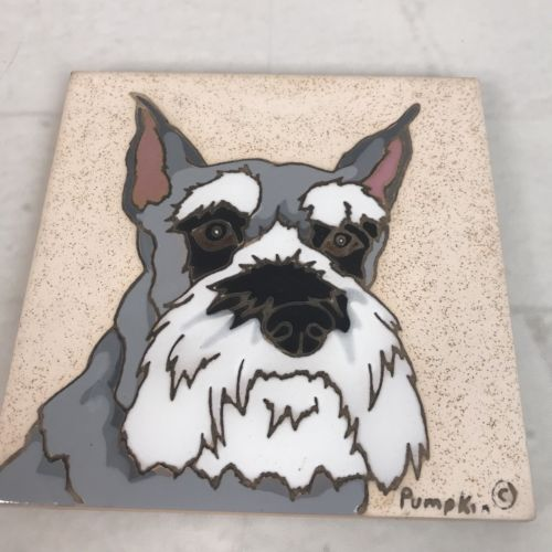 Pumpkin Inc dog trivet New Mexico Hand Glazed Schnauzer 6x6 Ceramic square