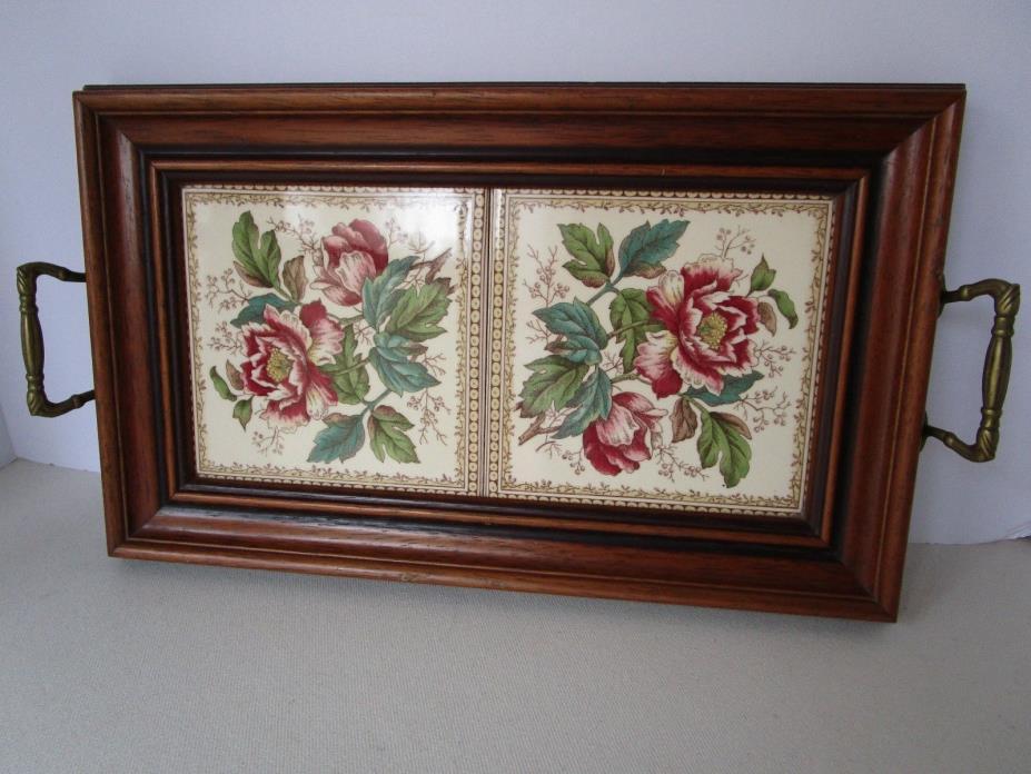 Antique Victorian Floral Tile Serving tray Vanity