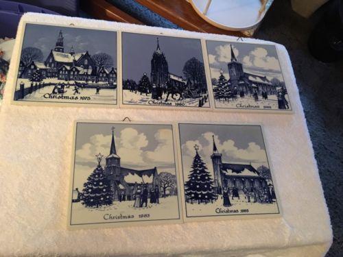 Genuine Dutch Delft Christmas Tile 1982 Blue & White Ceramic Porcelain Holland