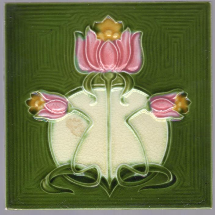 Alfred Meakin - c.1905 - Pink & Yellow Flowers On Green - Antique Victorian Tile