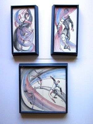 Vintage Pomona Tiles-California 3Pcs Framed Ballet Tiles  Circa 1950'S  Signed