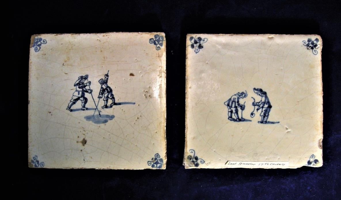 Two Late 17th c. or Early 18th c. Dutch Delft Blue and White Tiles