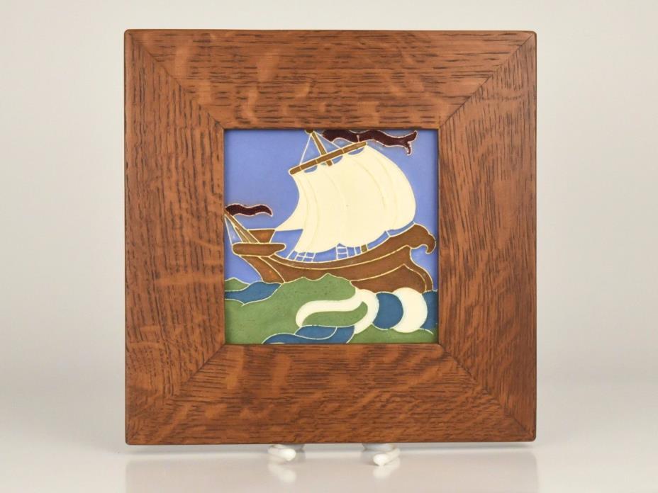 Vintage Arts & Crafts Mosaic Tile Co. Zanesville Ship Galleon Tile in Oak Wood F