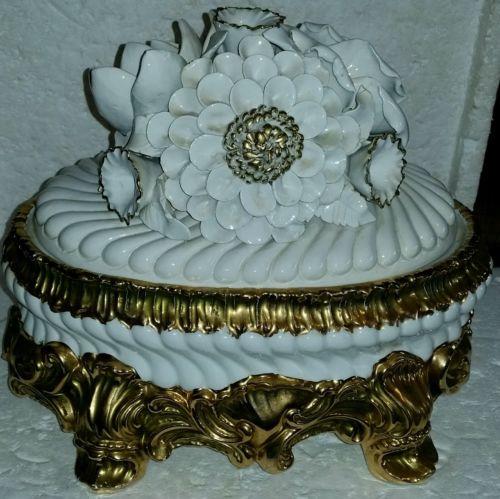 GORGEOUS OLD VINTAGE ITALIAN HEAVY GOLD & WHITE ELABORATE TUREEN