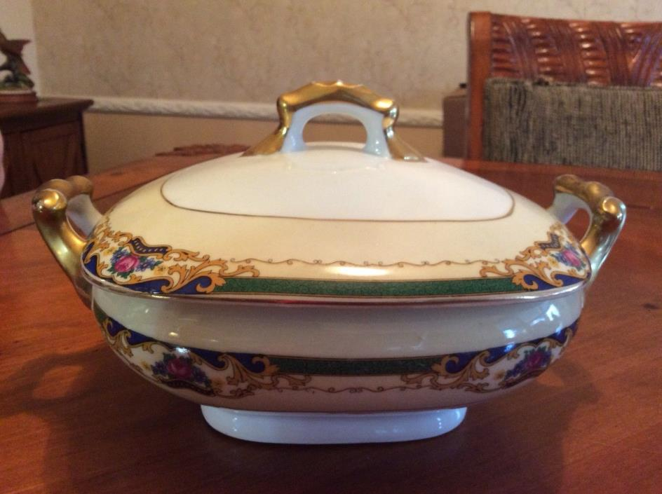 """Antique Czech Covered Porcelain Serving Dish Tureen 10""""w"""