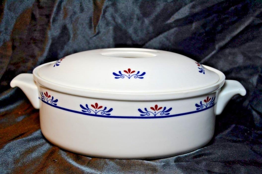 Vintage Red White Blue Lidded Porcelain Tureen Covered Dish Casserole Seving