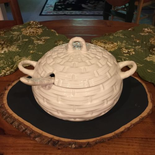 Vintage White Soup Tureen, Basketweave Pattern With Ladle