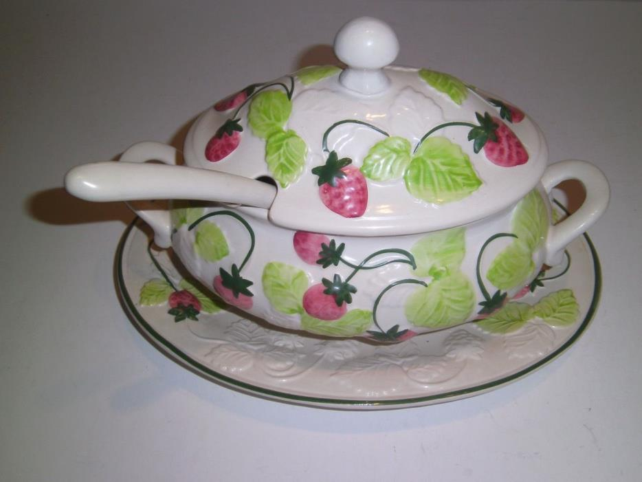 Vintage Tureen with Ladle Portugal Ceramic Strawberries embossed Springtime!