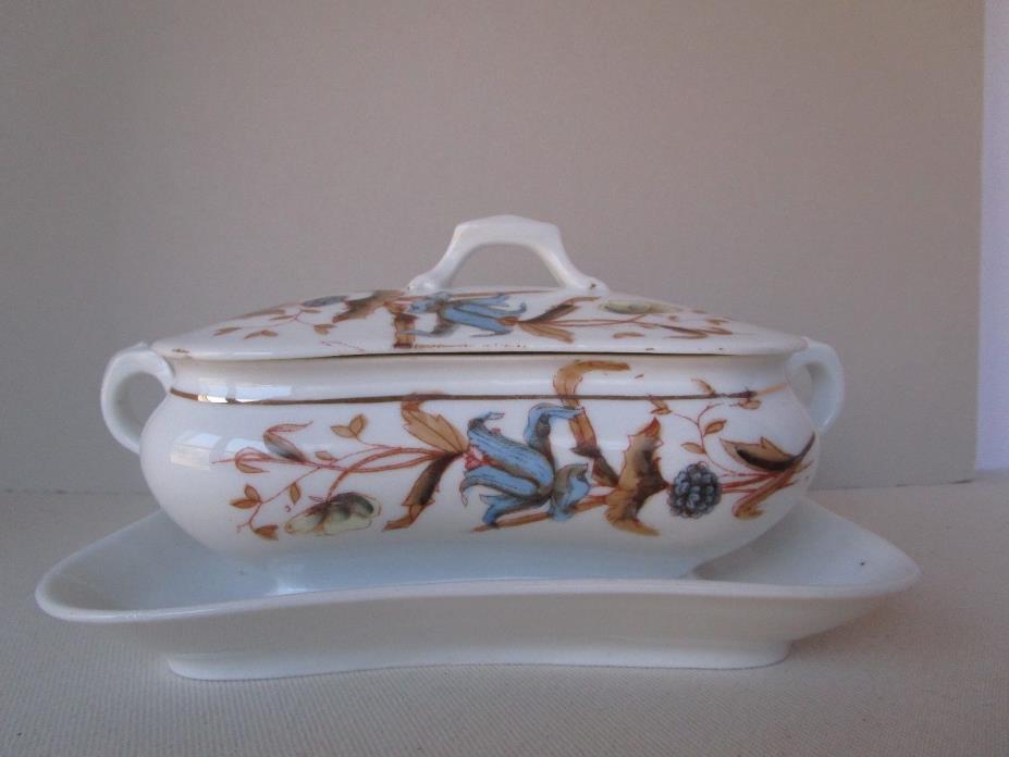 Antique Vintage Aesthetic Porcelain Gravy Boat attached Blue browns flowers LS&S