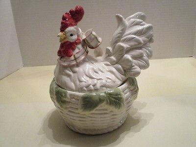 Kaldun & Bogle White Ceramic Chicken in a Basket Tureen/Soup/Vegetable? Server