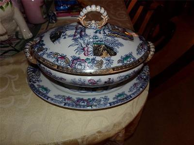 CHINESE RATTERN h&C VINTAGE TUREEN WITH UNDER LINER WONDERFUL