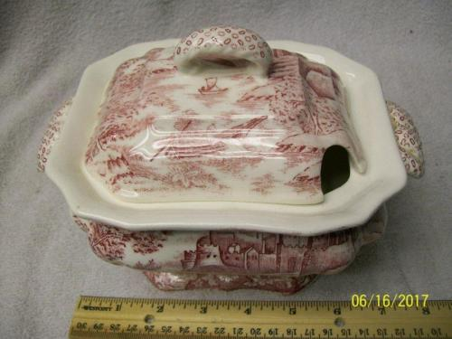 Vintage RED TRANSFERWARE TUREEN WITH CASTLE and PEOPLE IN BOAT SCENE Japanese