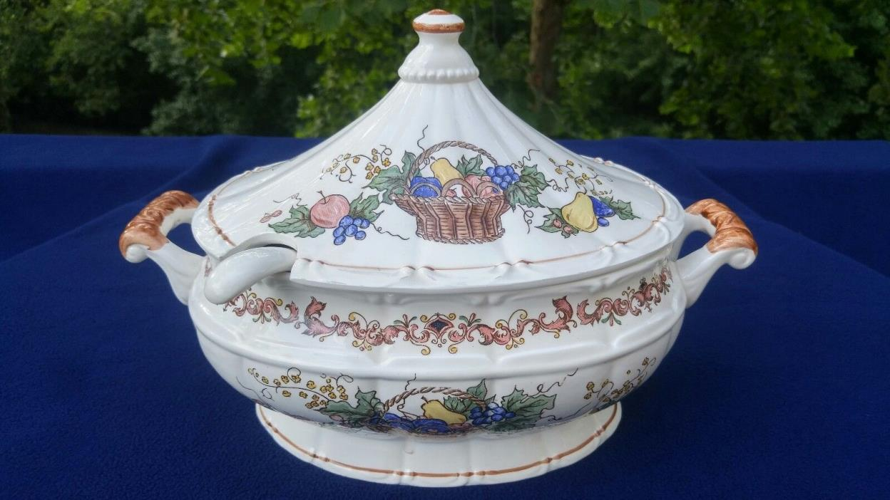 Vintage Soup Tureen with Ladle, Made in Japan