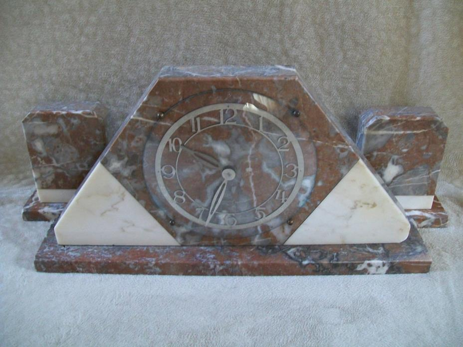 ART DECO MARBLE CLOCK GEOMETRIC STYLE WITH GARNITURES