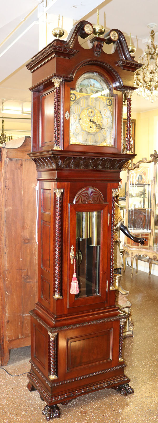 Restored Walter Durfee Model 18 Mahogany 9 Tube Grandfather Tall Case Clock MINT