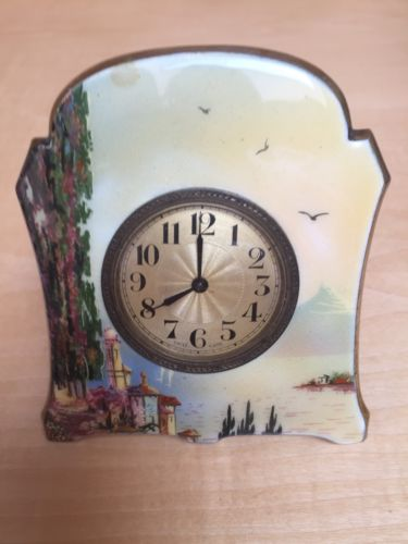 Vintage Swiss Brass Paint Enamel Table Clock
