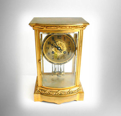 Japy Freres France clock with bejeweled dial - faux mercury pendulum FREE SHIP