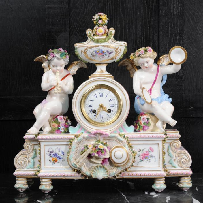 LARGE ANTIQUE FRENCH PORCELAIN CLOCK ~ MUSIC MUSICAL CHERUBS ~ C1880