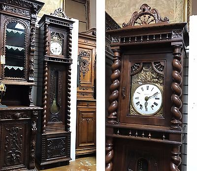 BEAUTIFUL FRENCH GRANDFATHER CLOCK BRITTANY CARVED CASE 99